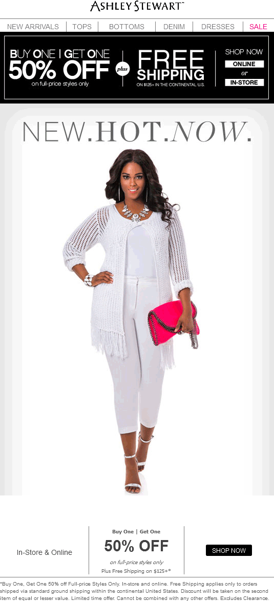 Ashley Stewart Coupon April 2019 Second item 50% off at Ashley Stewart, ditto online