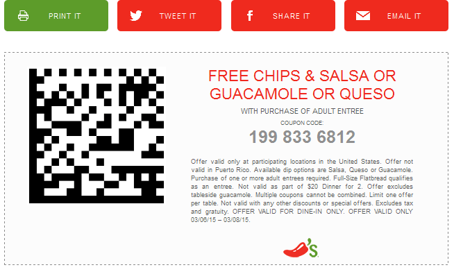 Chilis Coupon January 2018 Free chips & dip with your entree at Chilis