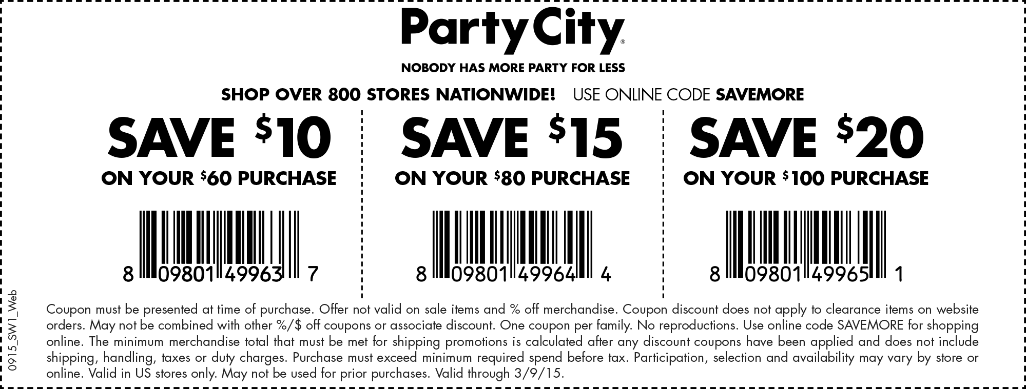 Party City Coupon June 2017 $10 off $60 & more at Party City, or online via promo code SAVEMORE