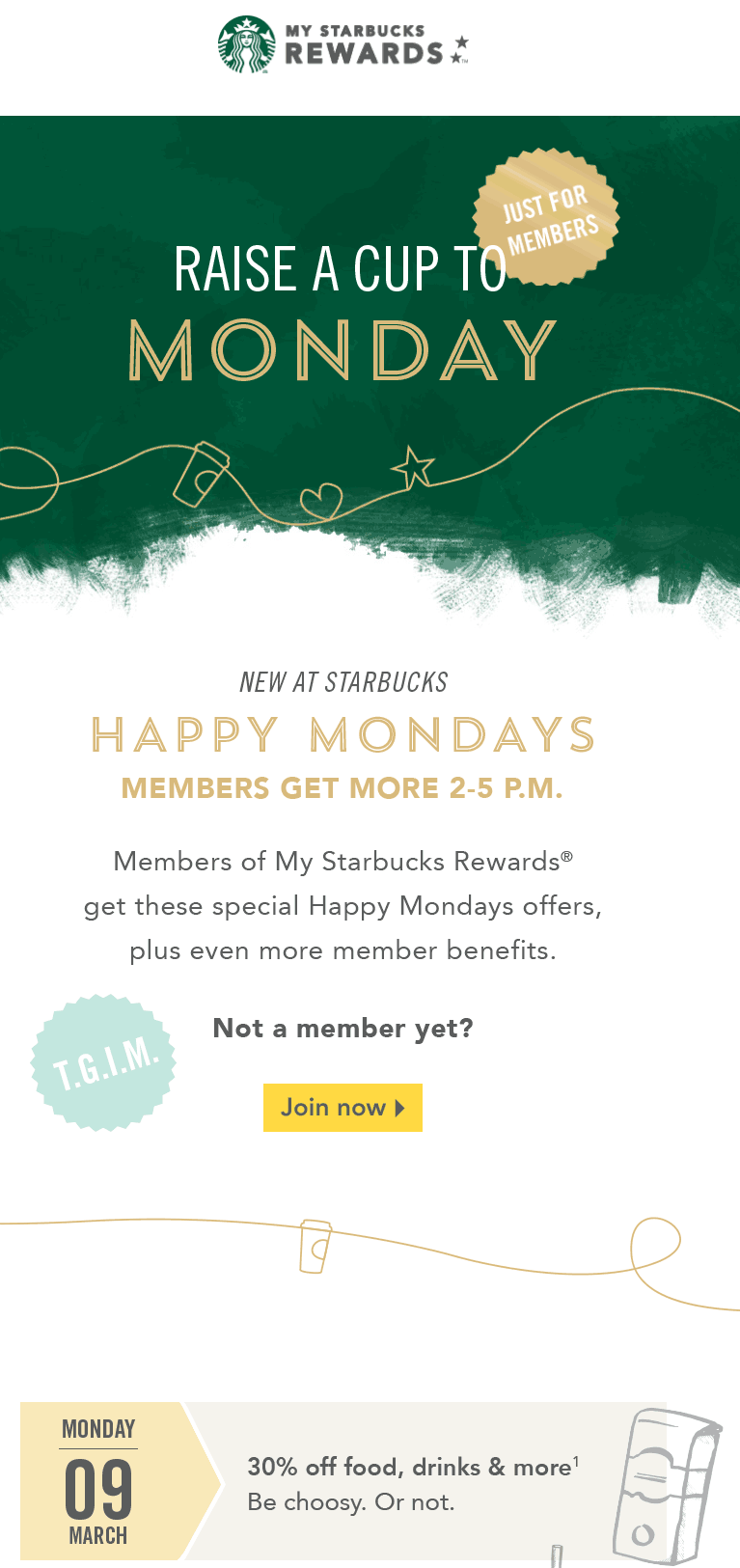 Starbucks Coupon March 2017 30% off 2-5pm Monday via free rewards card at Starbucks