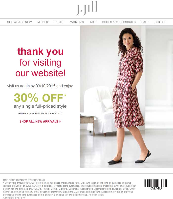 J.Jill Coupon September 2017 30% off a single item at J.Jill, or online via promo code RM74D