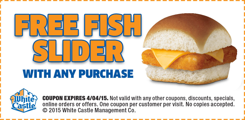White Castle Coupon February 2017 You are now craving a free fish slider with any order at White Castle
