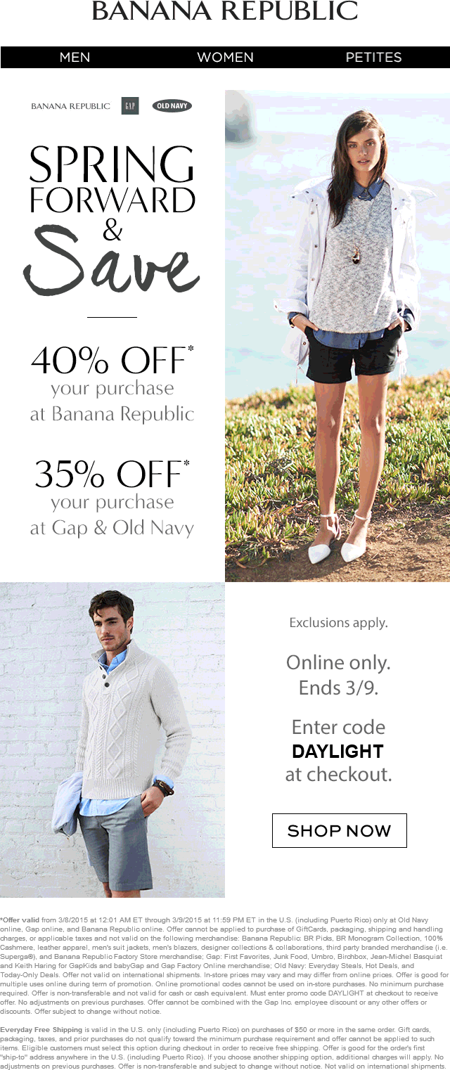 Old Navy Coupon October 2018 35-40% off online at Gap, Old Navy & Banana Republic via promo code DAYLIGHT