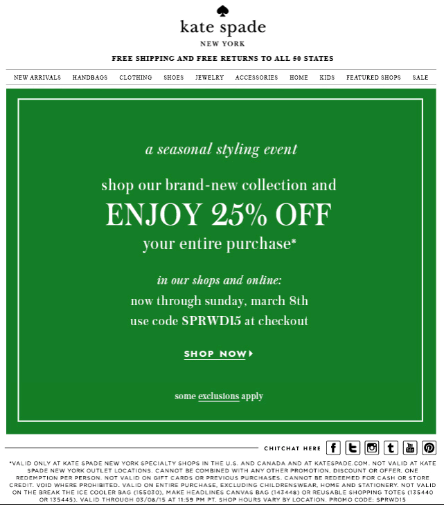 Kate Spade Coupon April 2017 25% off today at Kate Spade, or online via promo code SPRWD15