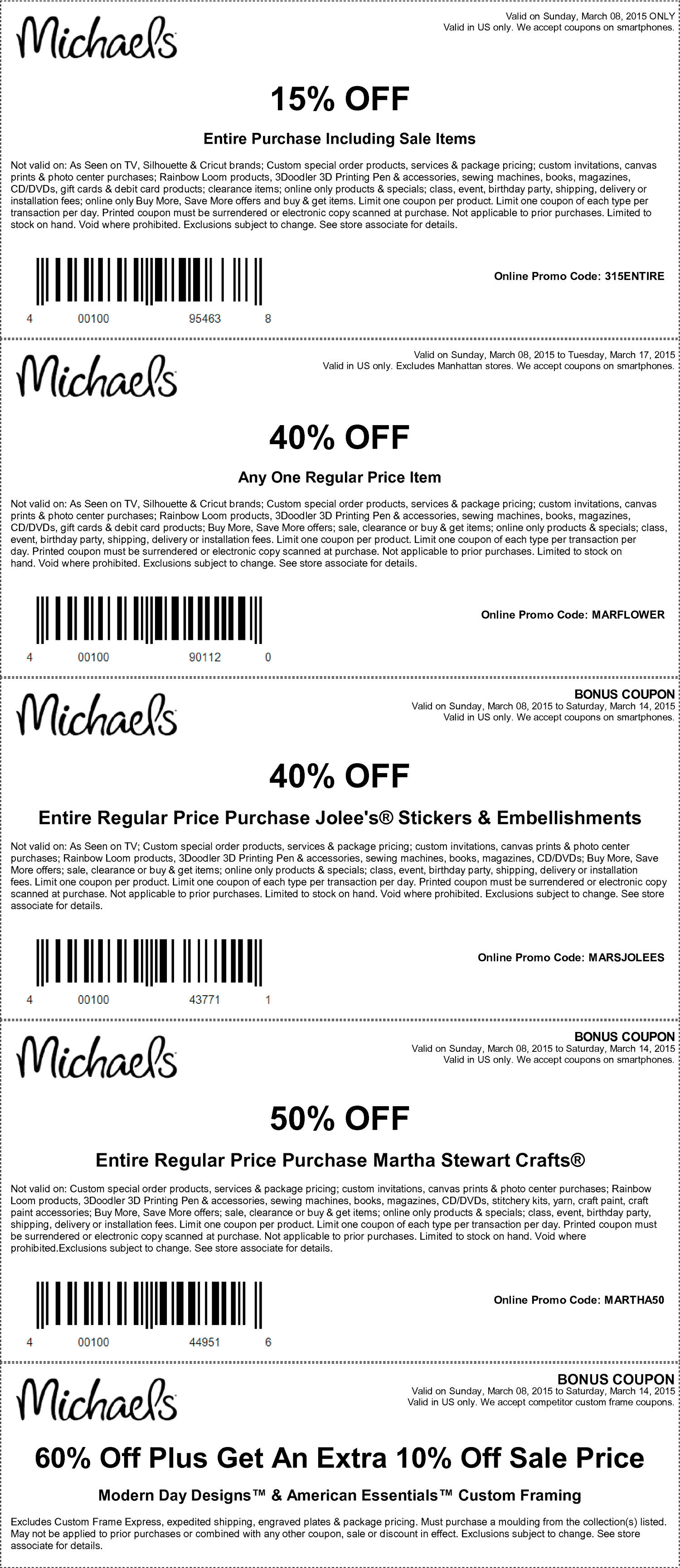 Michaels Coupon April 2018 15-40% off at Michaels, or online via promo code MARFLOWER