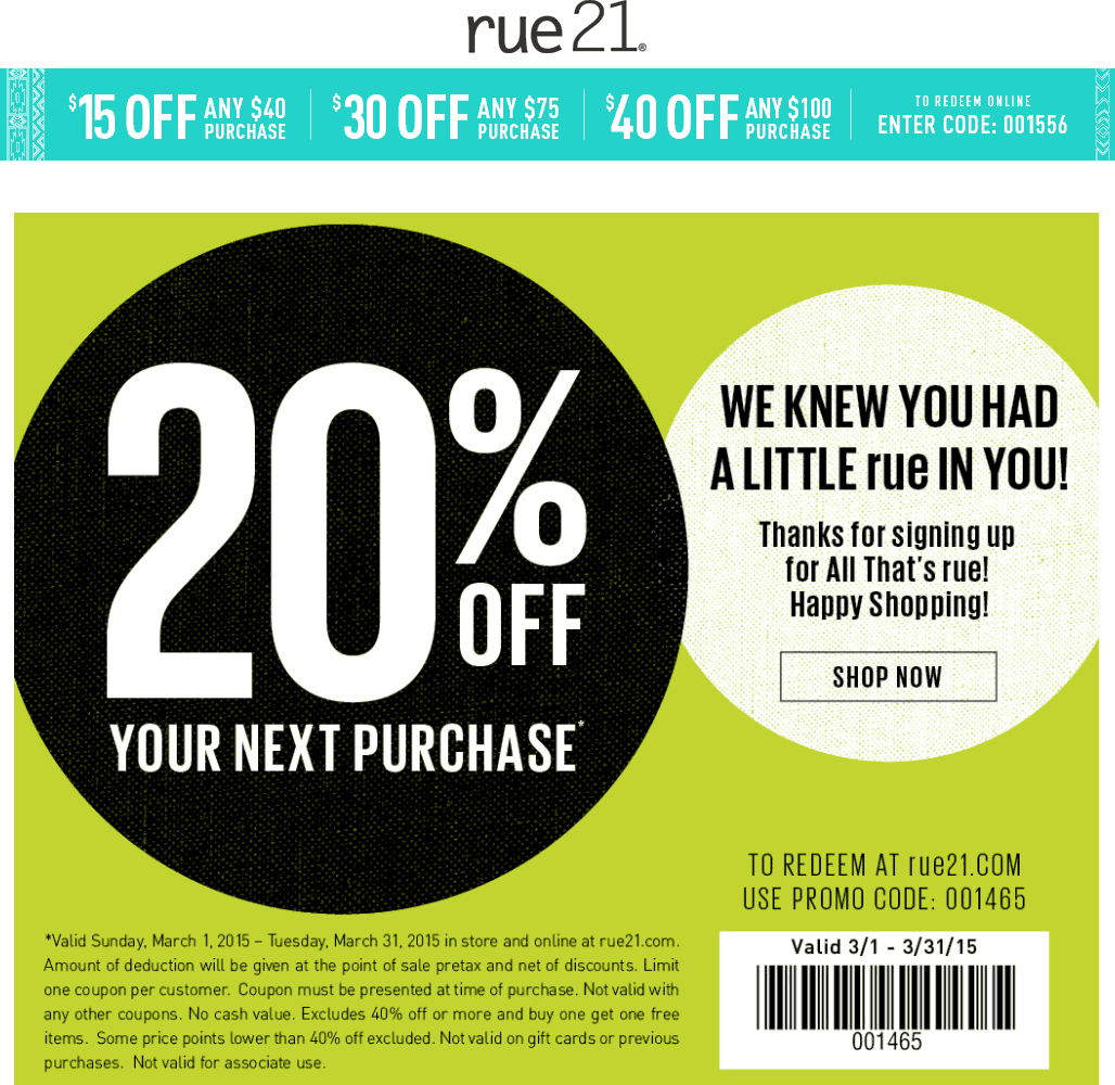 Rue21 Coupon April 2017 20% off at rue21, or $15 off $40 online via promo code 001556