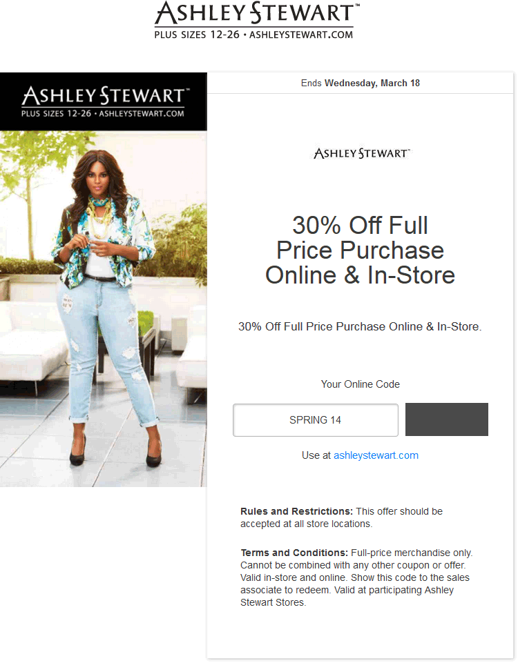 Ashley Stewart Coupon June 2017 30% off at Ashley Stewart, or online via promo code SPRING14