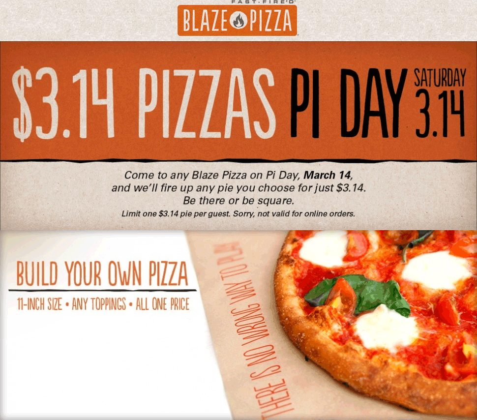 Blaze Pizza Coupon November 2017 $3 pizzas Saturday at Blaze Pizza
