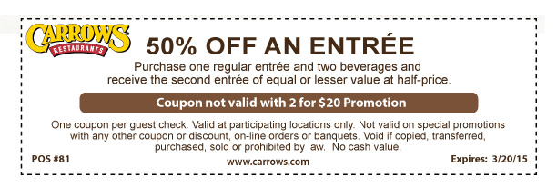 Carrows Coupon March 2017 Second entree 50% off at Carrows restaurants