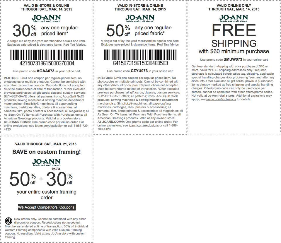 Jo-Ann Coupon March 2018 30-50% off a single item at Jo-Ann Fabric, or online via promo code AGAA073