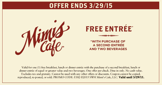 Mimis Cafe Coupon January 2017 Second entree free at Mimis Cafe