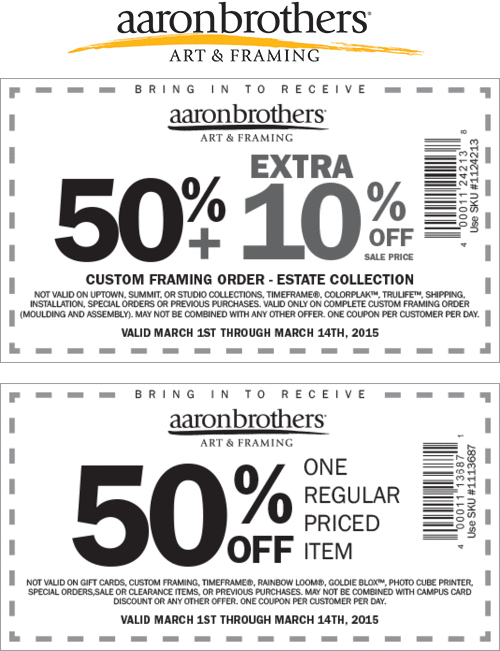 Aaron Brothers Coupon December 2018 50% off a single item at Aaron Brothers art & framing