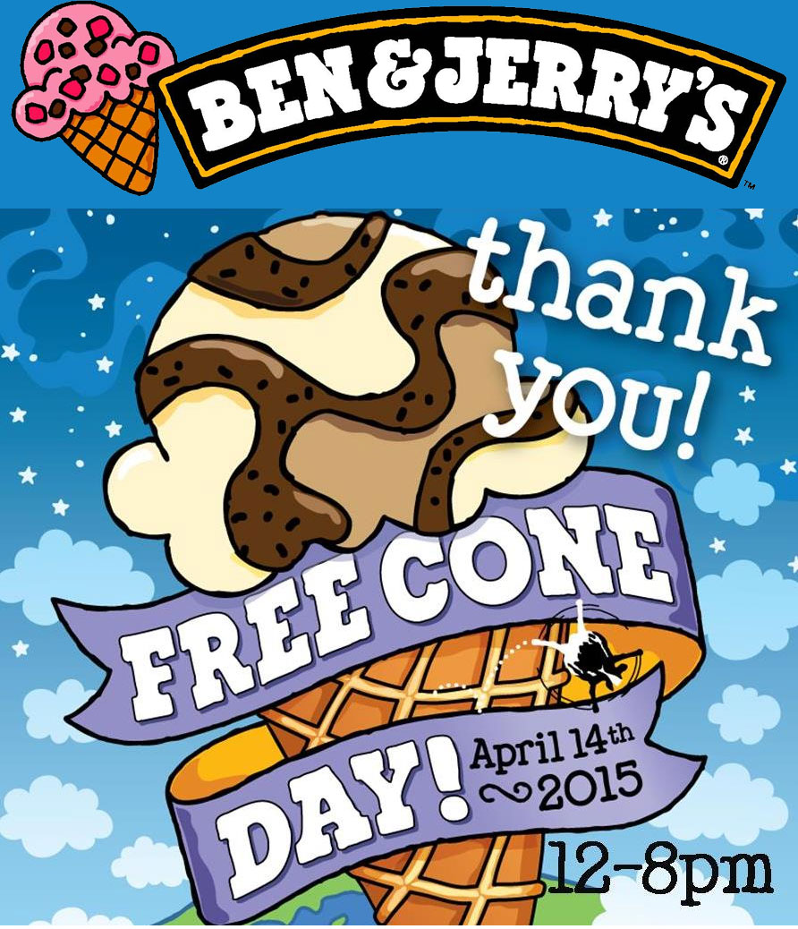 Ben & Jerrys Coupon December 2016 Free ice cream cone April 14th at Ben & Jerrys
