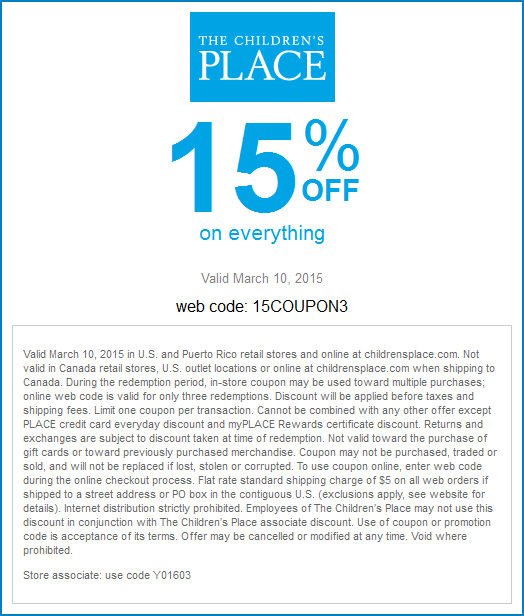 Childrens Place Coupon March 2019 15% off everything today at The Childrens Place, or online via promo code 15COUPON3