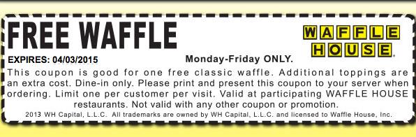Waffle House Coupon July 2017 Free waffle weekdays at Waffle House