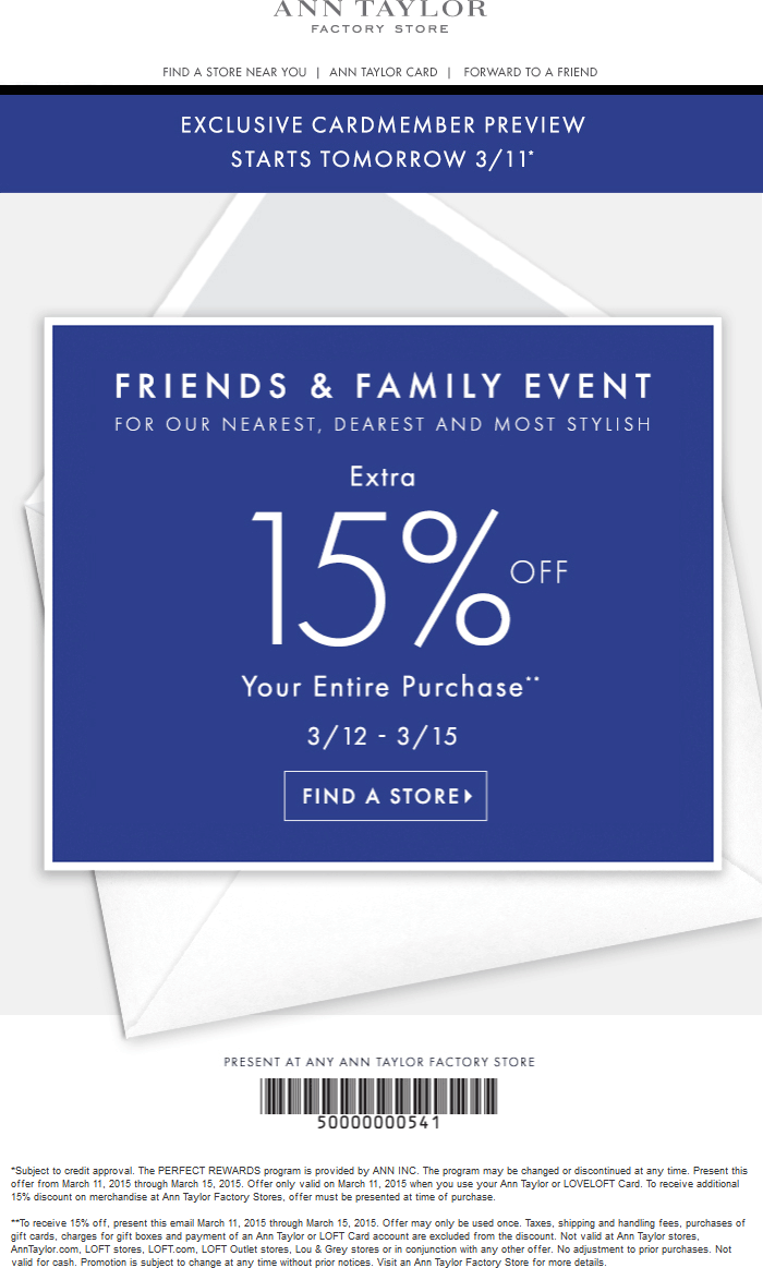 Ann Taylor Factory Coupon March 2018 Extra 15% off at Ann Taylor Factory stores