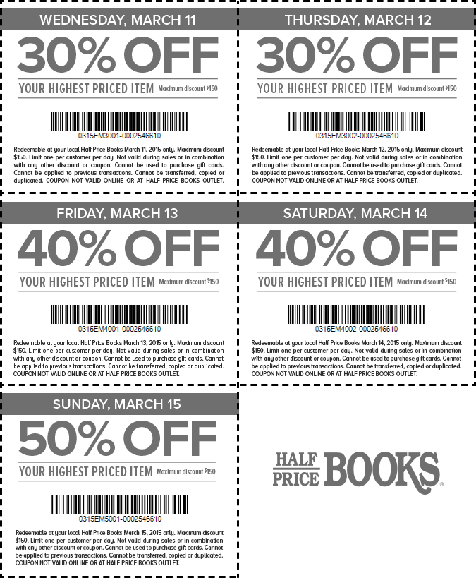 Half Price Books Coupon September 2018 30-50% off a single item at Half Price Books