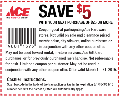 Ace Hardware Coupon February 2018 $5 off $25 at Ace Hardware