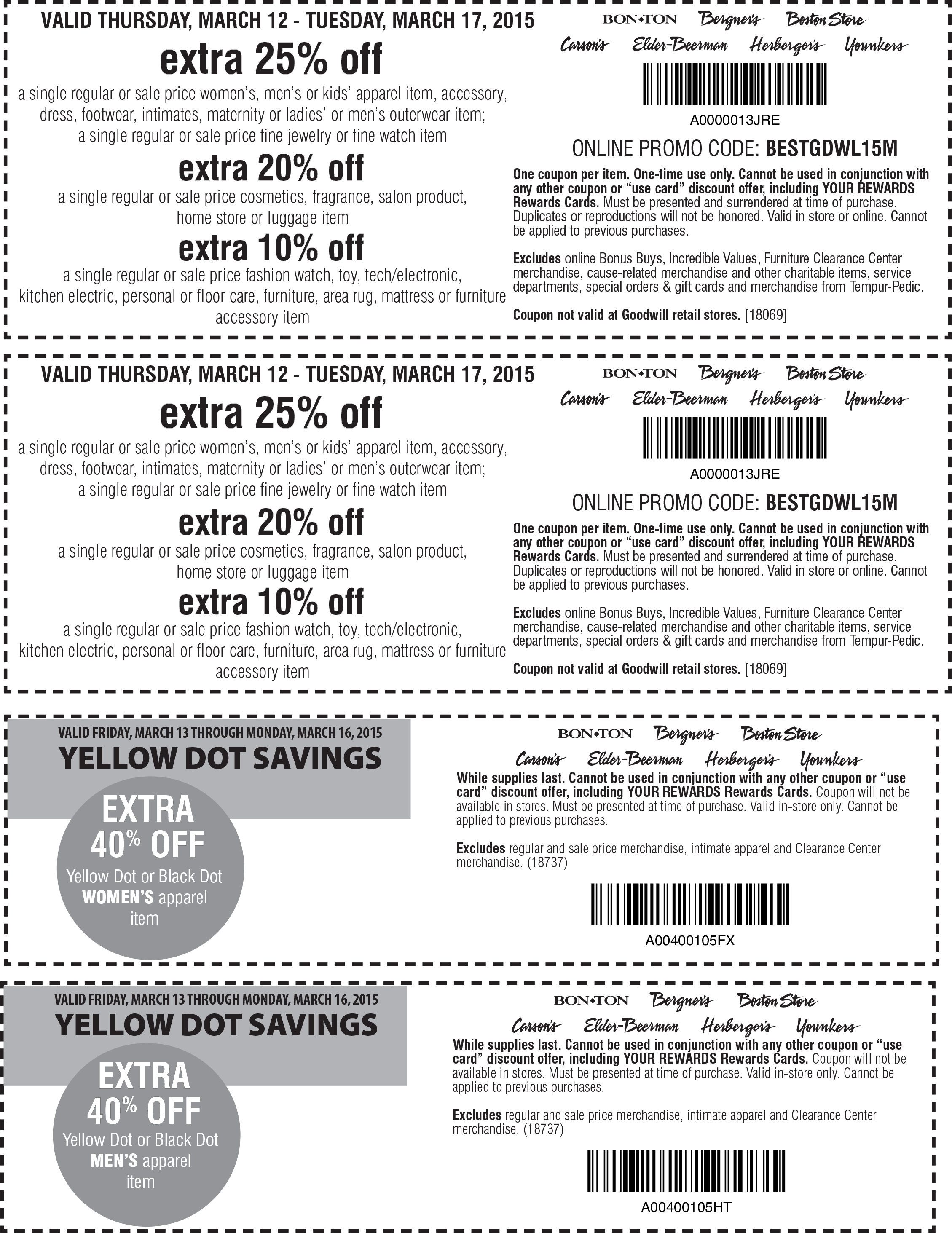 Carsons Coupon July 2017 Extra 25-40% off at Carsons, Bon Ton & sister stores, or online via promo code BESTGDWL15M