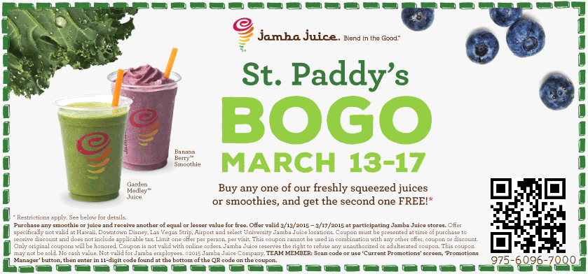 Jamba Juice Coupon February 2017 Second smoothie free at Jamba Juice