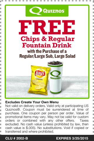 Quiznos Coupon January 2017 Free chips & drink with your sub or salad at Quiznos