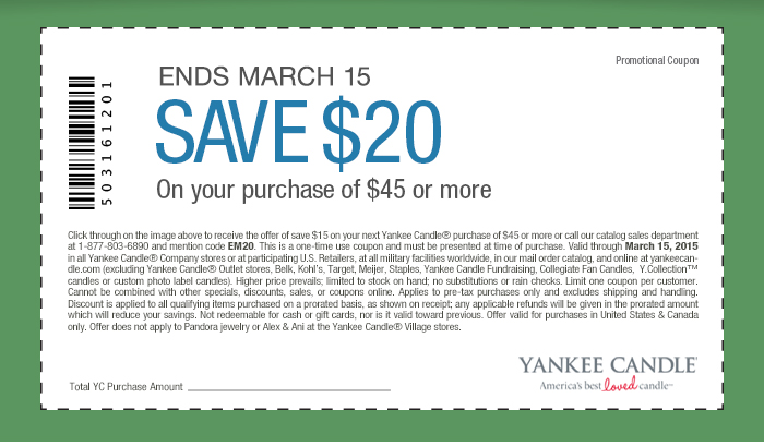 Yankee Candle Coupon December 2016 $20 off $45 at Yankee Candle, or online via promo code EM20
