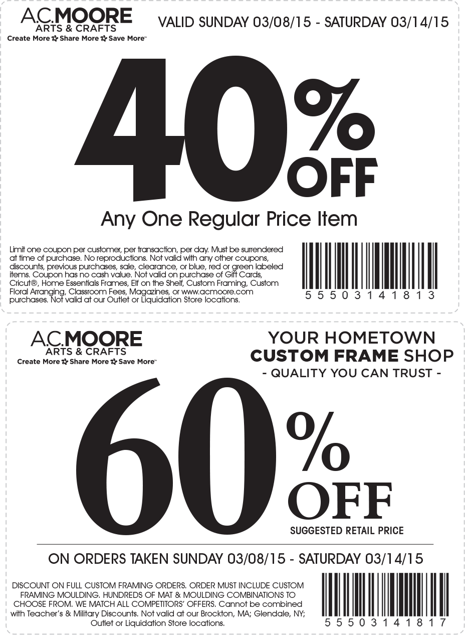A.C. Moore Coupon January 2017 40% off a single item today at A.C. Moore