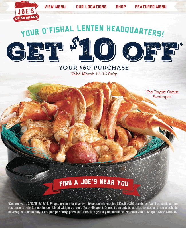 Joes Crab Shack Coupon February 2018 $10 off $60 at Joes Crab Shack