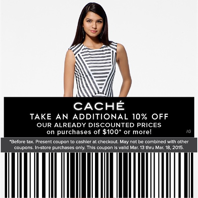 Cache Coupon March 2018 Going out-of-business 20-50% off everything & more at Cache, ditto online