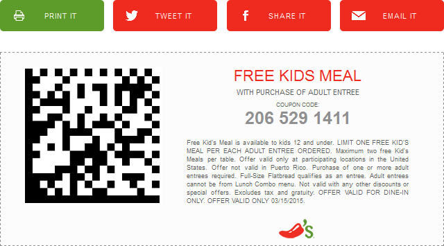 Chilis Coupon September 2017 Free kids meal with your entree today at Chilis