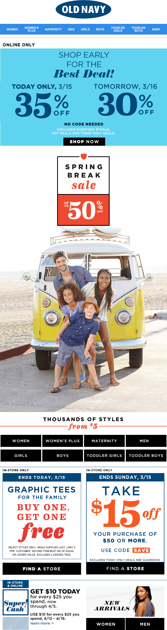 Old Navy Coupon March 2018 $15 off $50 & more at Old Navy, or 30-35% off online