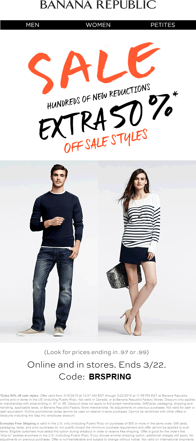Banana Republic Coupon January 2018 Extra 50% off sale items at Banana Republic, or online via promo code BRSPRING