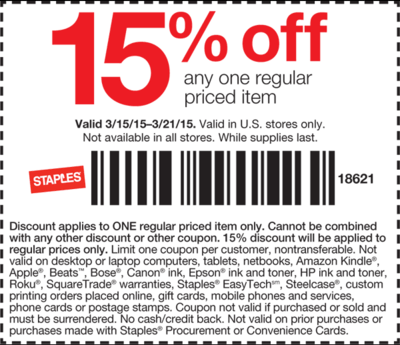 Staples Coupon December 2018 15% off a single item at Staples