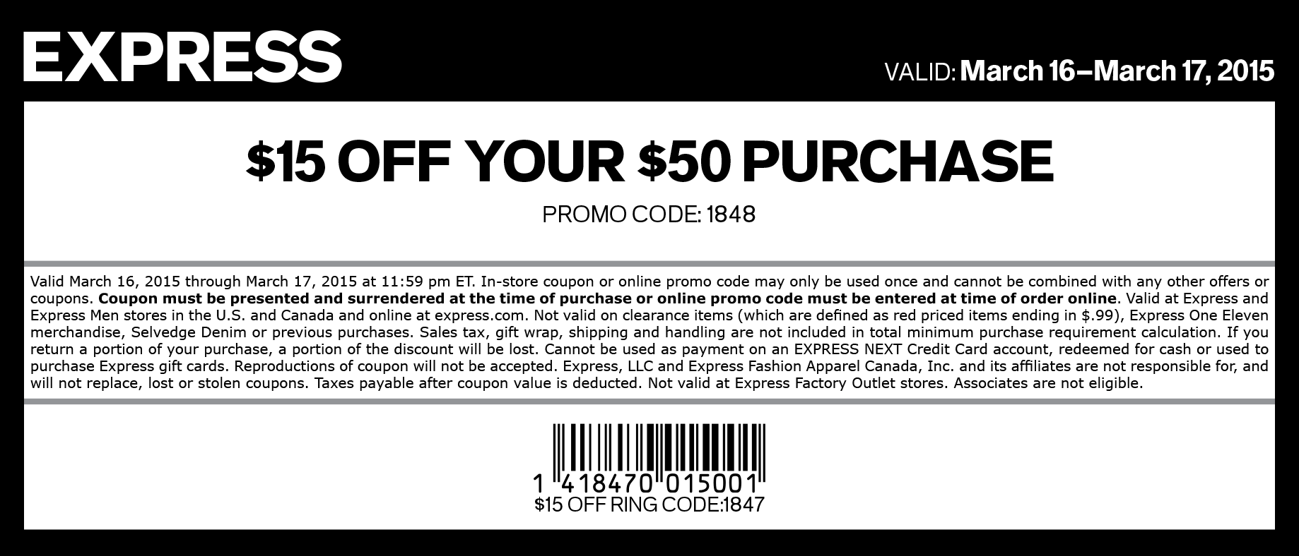 Express Coupon March 2018 $15 off $50 at Express, or online via promo code 1848
