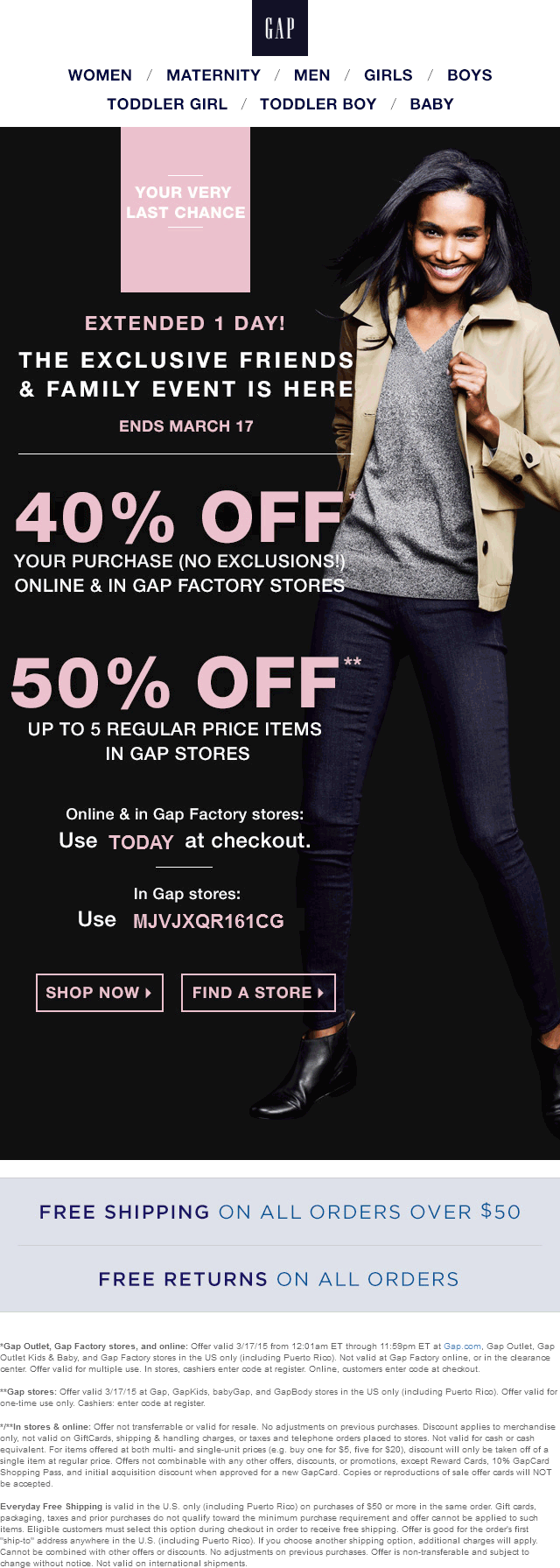Gap Coupon April 2019 50% off today at Gap, or online via promo code TODAY