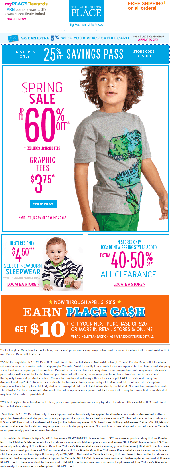 Childrens Place Coupon April 2017 25% off at The Childrens Place