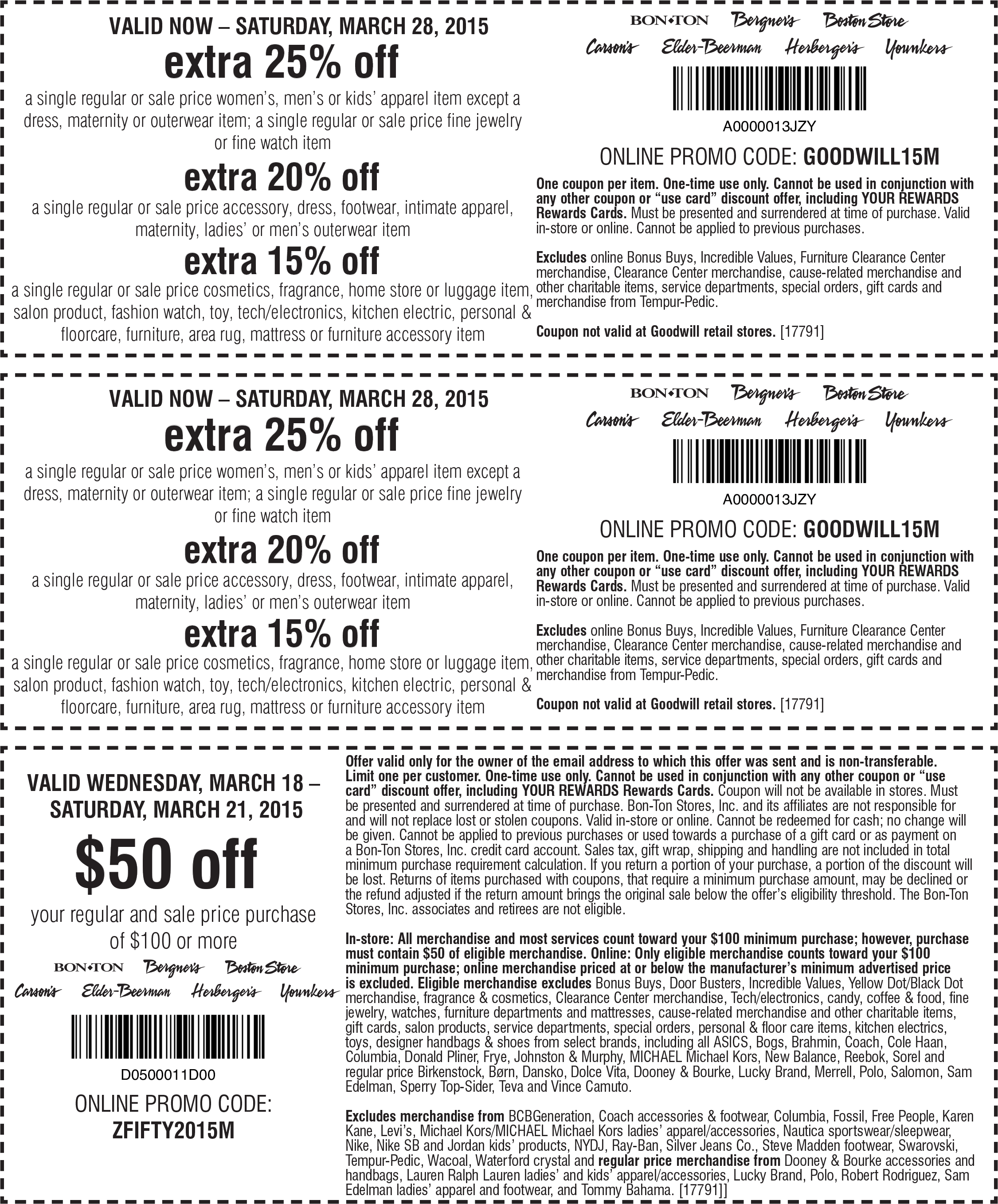 Carsons Coupon December 2016 $50 off $100 & more at Carsons, Bon Ton & sister stores, or online via promo code ZFIFTY2015M