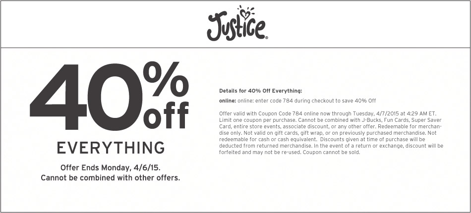 Justice Coupon May 2017 40% off everything at Justice, or online via promo code 784