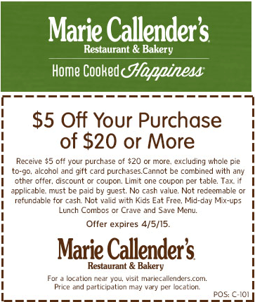 Marie Callenders Coupon January 2018 $5 off $20 at Marie Callenders restaurant & bakery