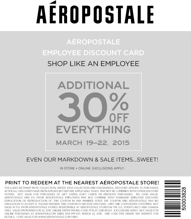 Aeropostale Coupon February 2017 30% off everything at Aeropostale, or online via promo code FF15