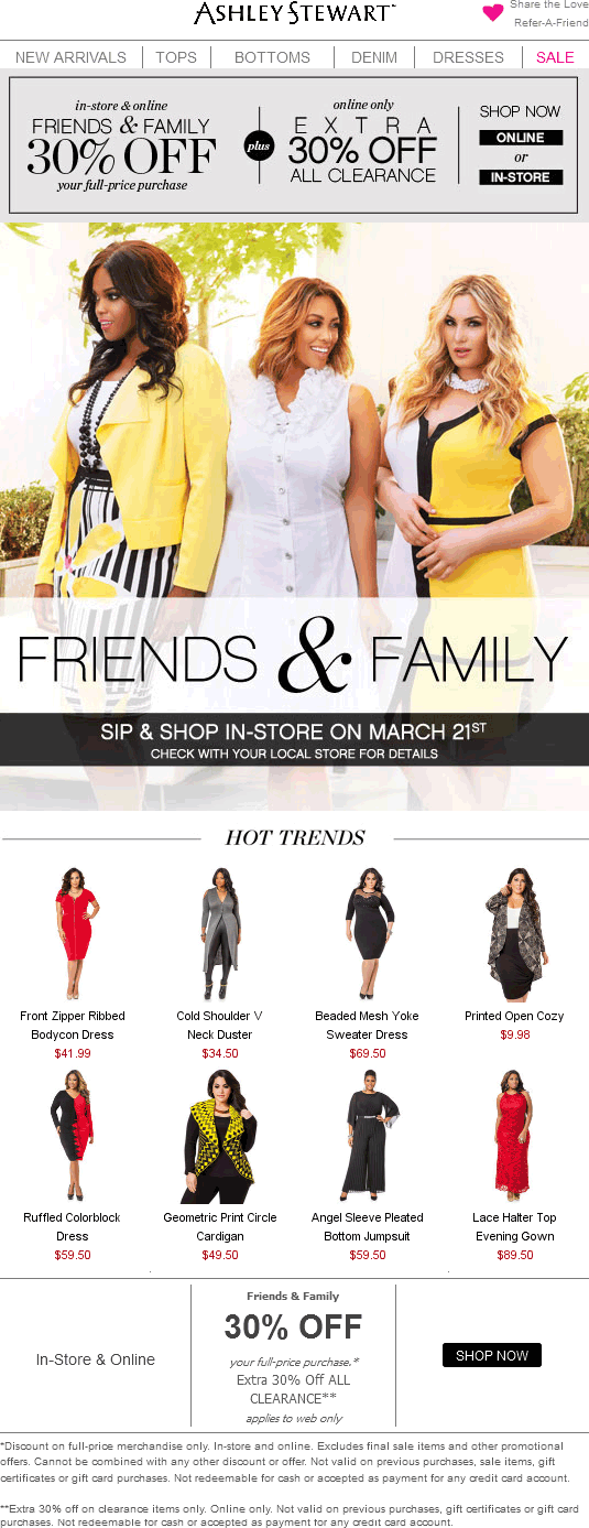 Ashley Stewart Coupon March 2018 30% off at Ashley Stewart, ditto online + extra 30% off clearance
