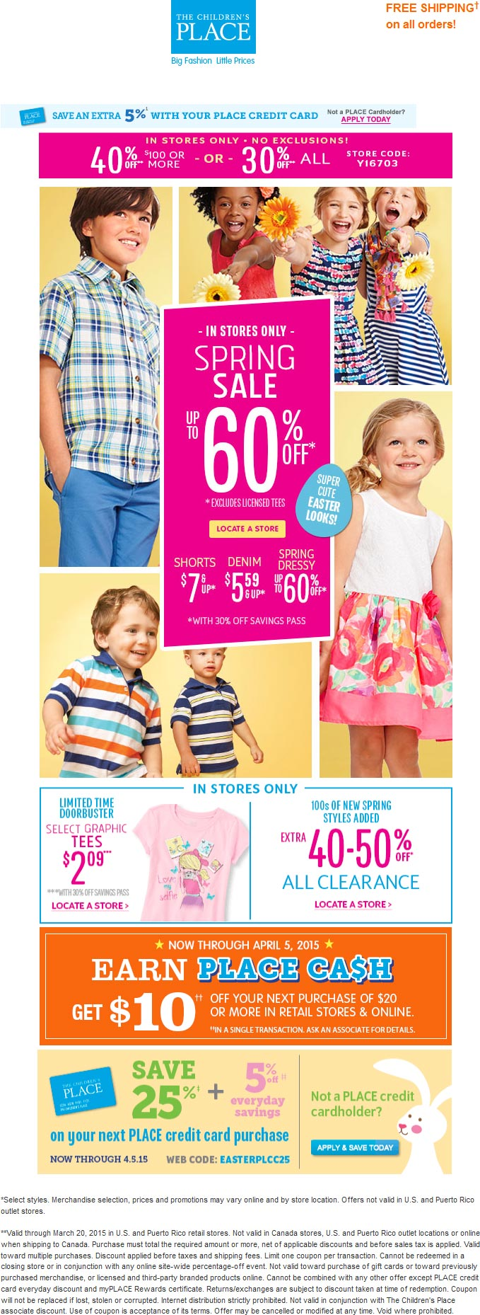 Childrens Place Coupon April 2017 30-40% off everyhing at The Childrens Place