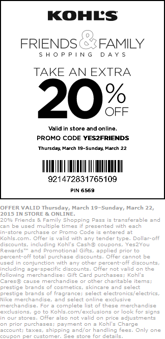 Kohls Coupon February 2017 20% off at Kohls, or online via promo code YES2FRIENDS