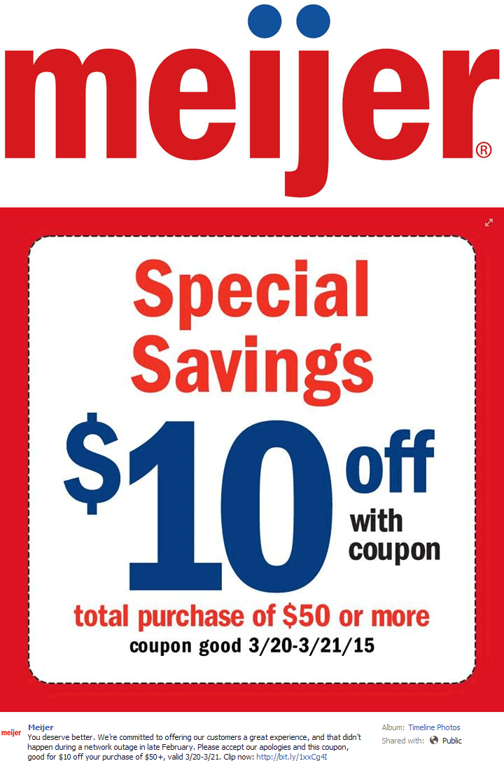 Meijer Coupon April 2017 $10 off $50 via mperks at Meijer