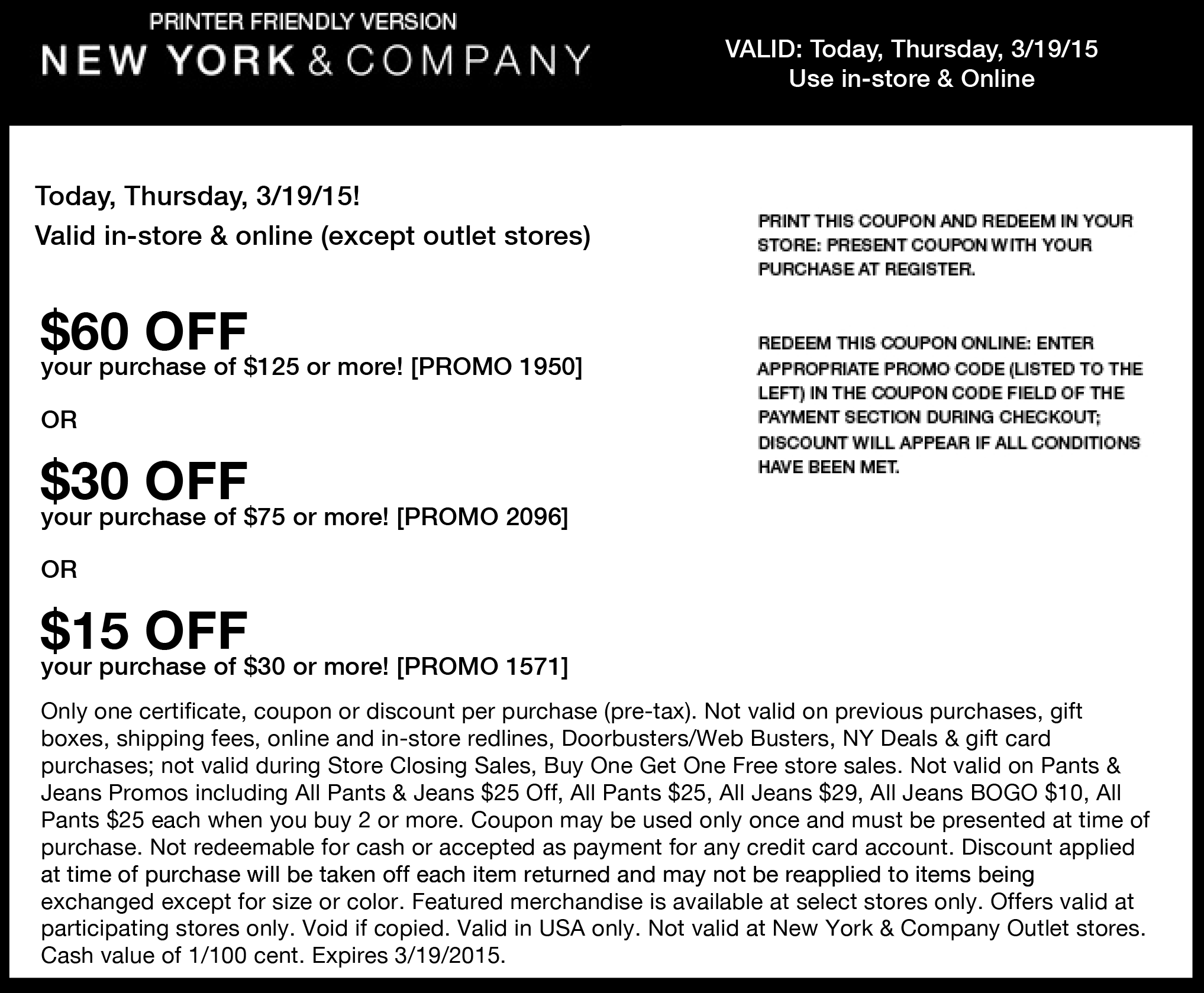 New York & Company Coupon April 2018 $15 off $30 &more today at New York & Company, or online via promo code 1571