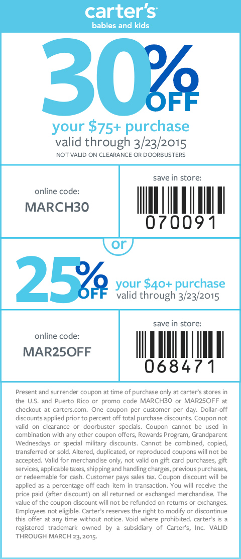 Carters Coupon December 2018 30% off $75 at Carters, or online via promo code MARCH30