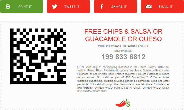 Chilis Coupon October 2016 Free chips & dip with your entree at Chilis