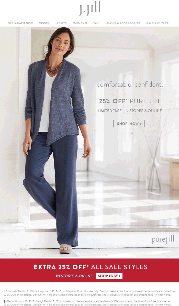 J.Jill Coupon October 2016 Extra 25% off sale styles at J.Jill, ditto online
