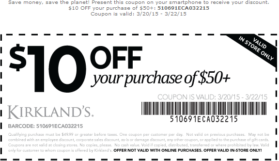 Kirklands Coupon May 2017 $10 off $50 at Kirklands