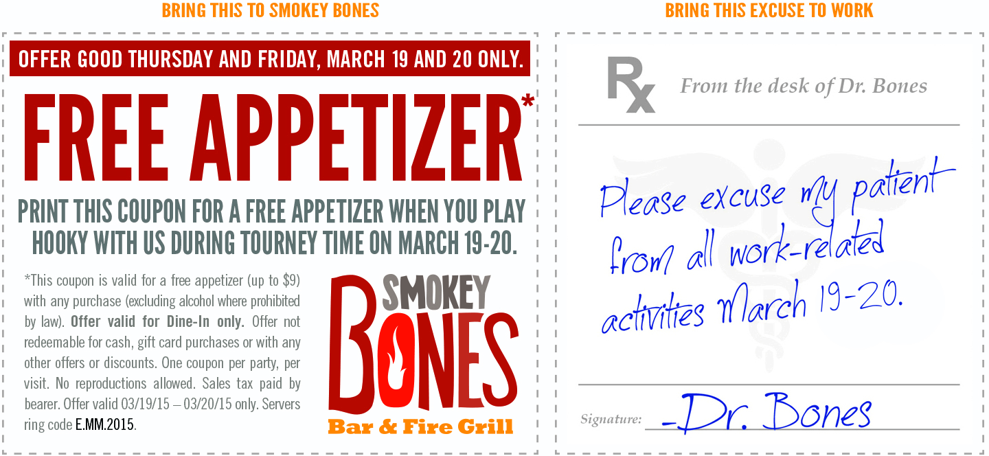 Smokey Bones Coupon February 2018 Free appetizer today at Smokey Bones bar & grill